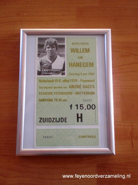 Entreebewijs afscheidswedstrijd Van Hanegem 1983