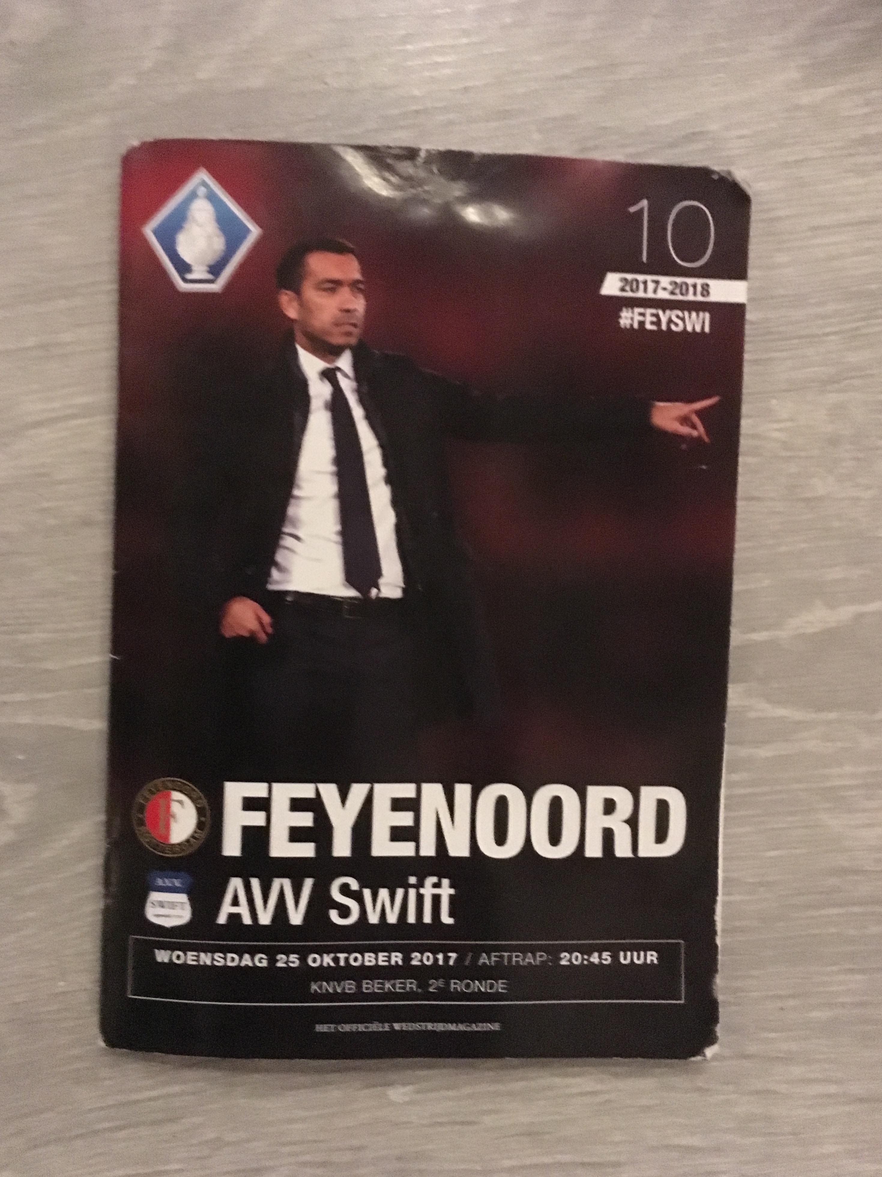 Programma Feyenoord - Swift Beker 2017-2018